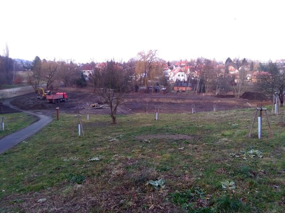 budování rybníka Terezka