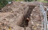 probíhající práce na přípojce dešťové kanalizace