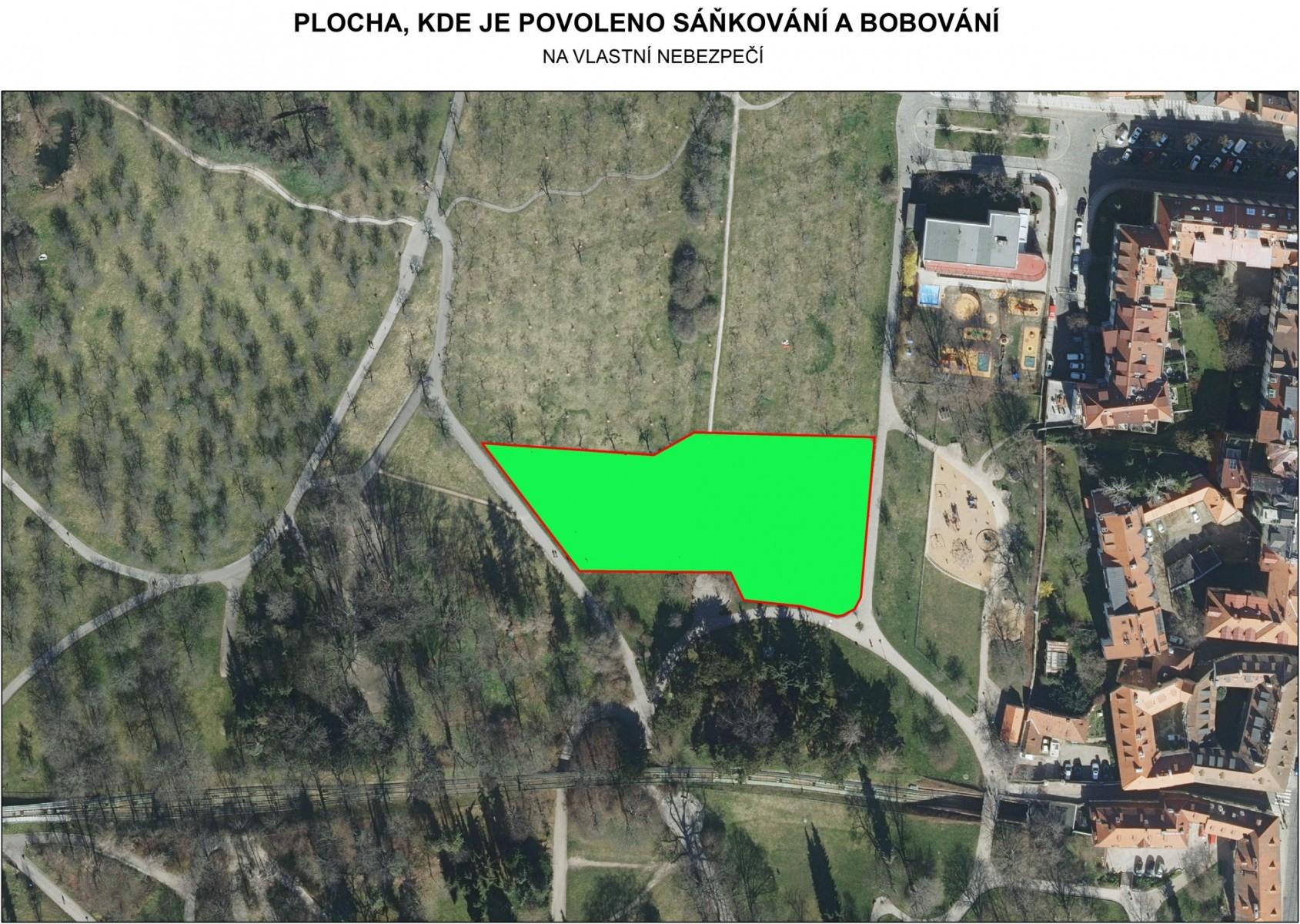 Petřín - plocha na sáňkování