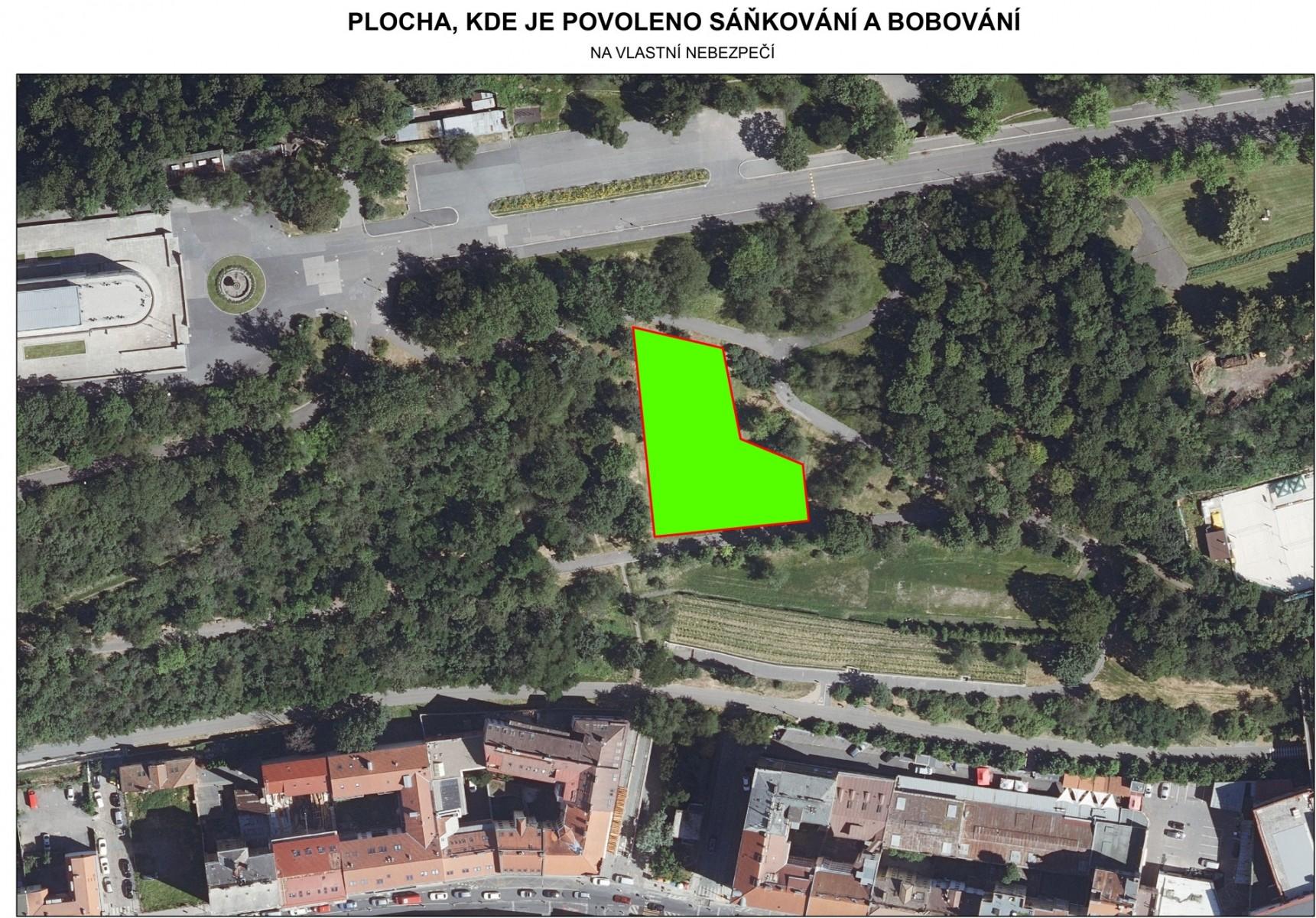 Park na Vítkově - plocha na sáňkování